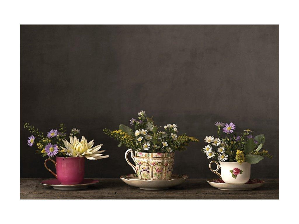 Postcard Flowers in tee cups