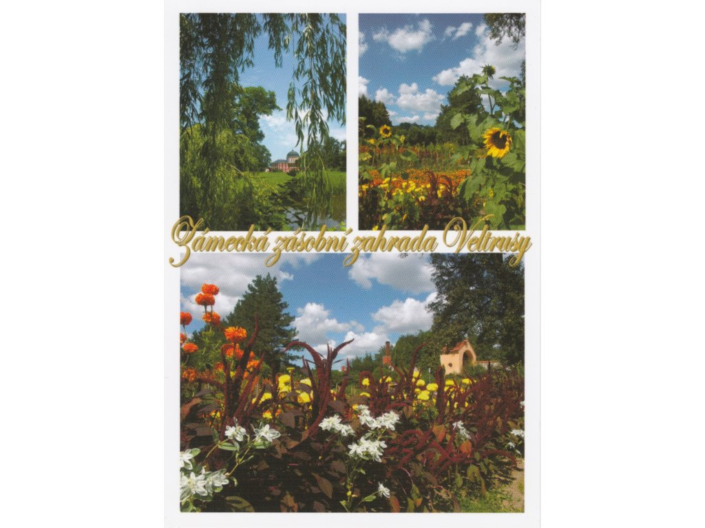 Postcard Chateau Veltrusy - stock garden