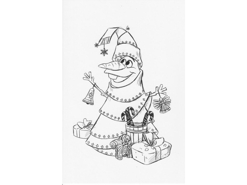 Postcard Frozen - Olaf as Christmas tree