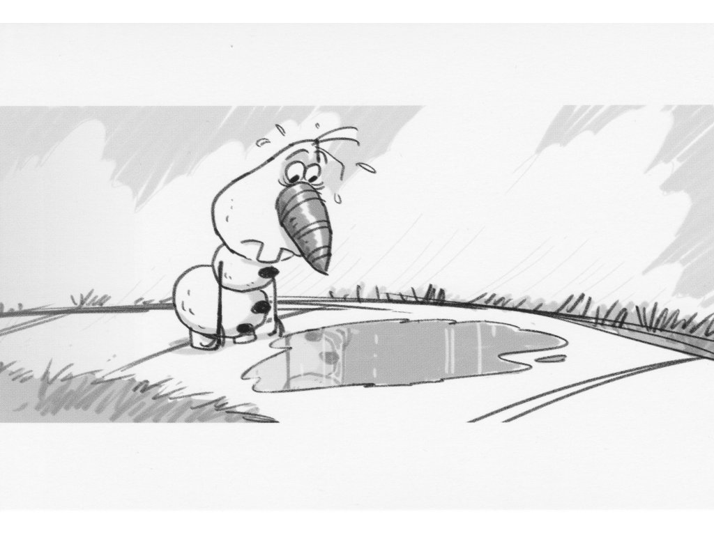 Postcard Frozen - Olaf and puddle