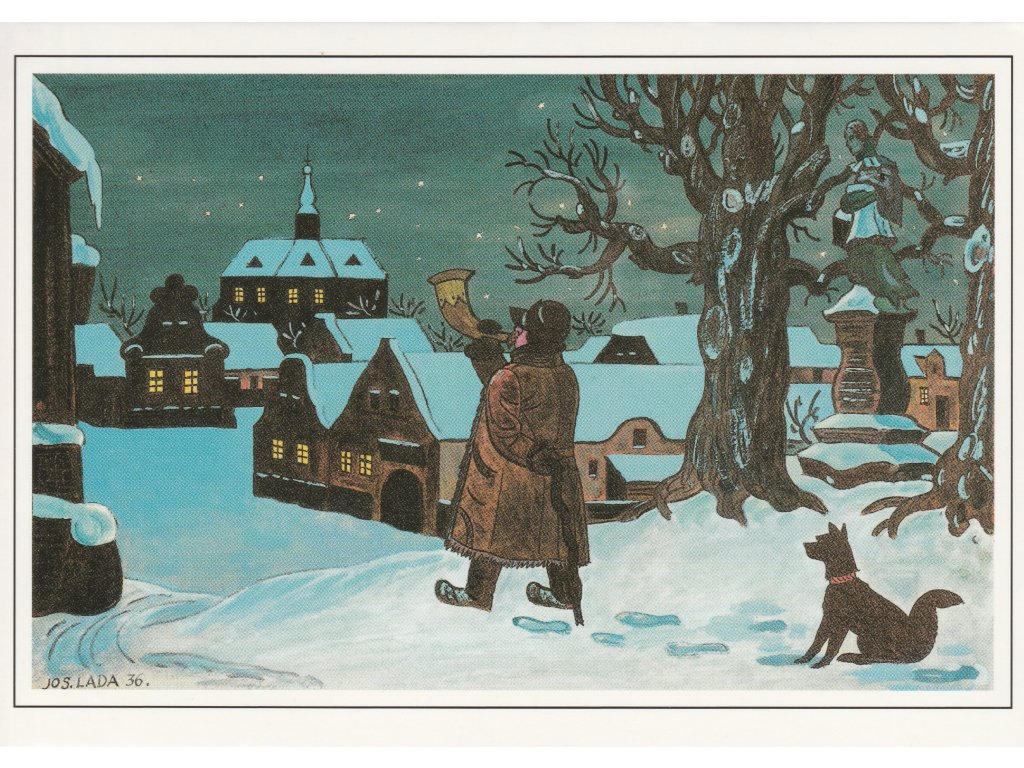 Postcard Josef Lada - Christmas Eve night (1936)