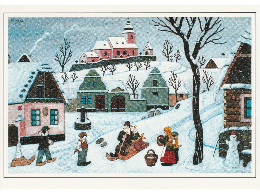 Postcard Josef Lada - Childrens are sledding (1952)