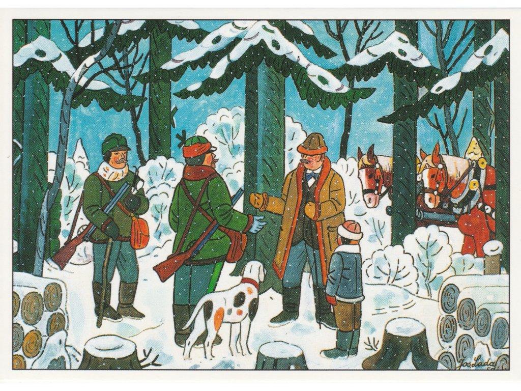 Postcard Josef Lada - For wood (1955)