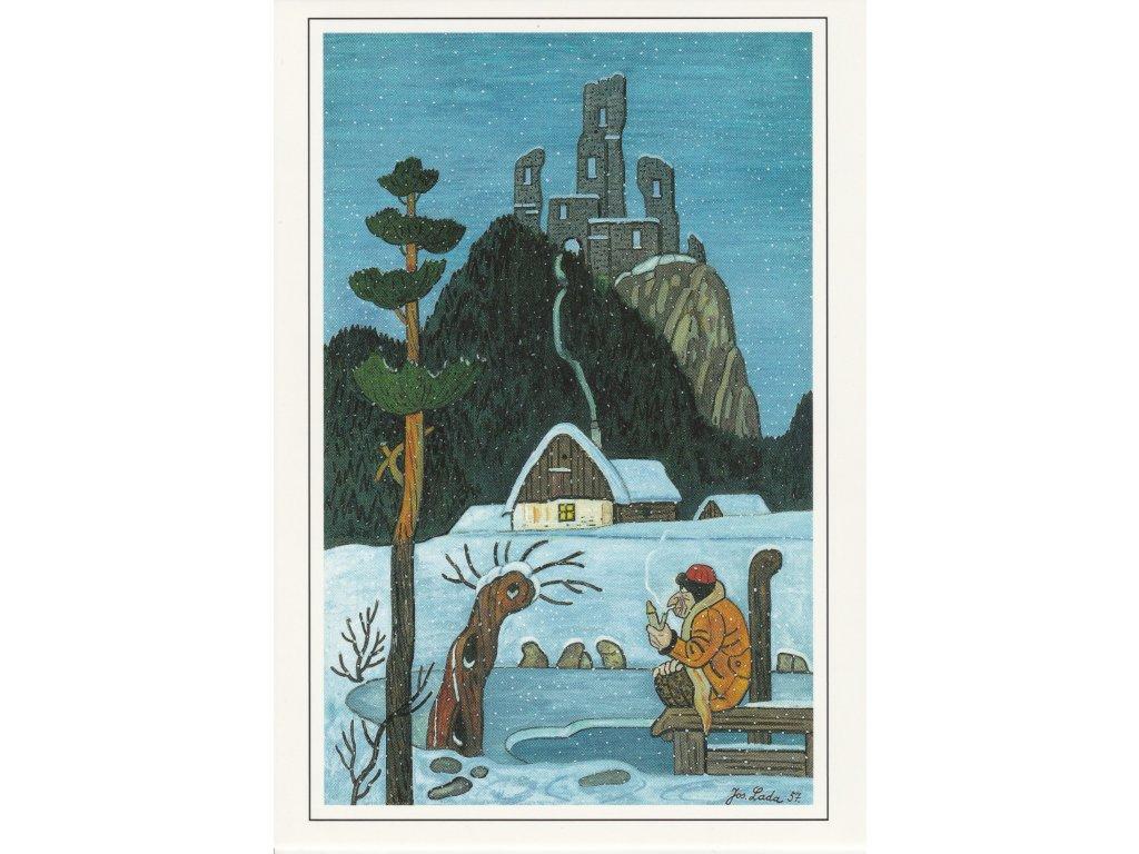 Postcard Josef Lada - Water sprite in winter (1957)