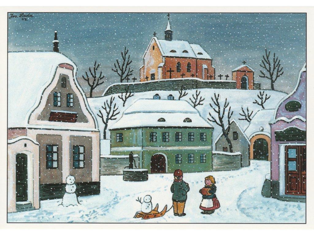 Postcard Josef Lada - Village square in winter (1944)
