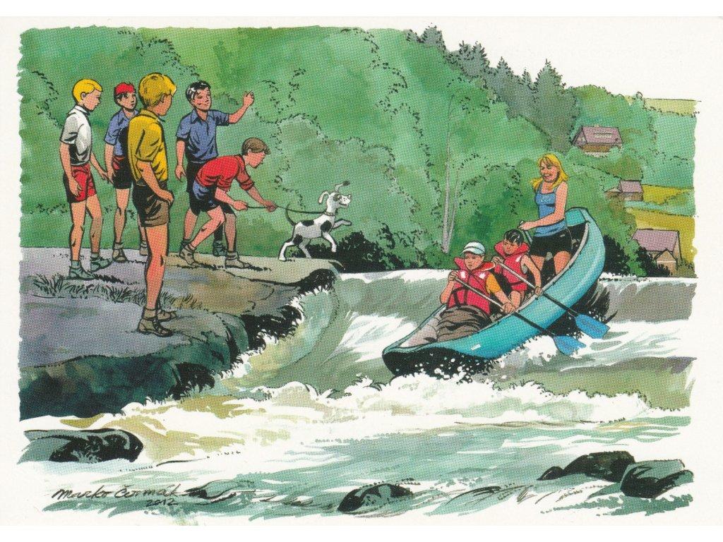 Postcard Rapid Arrows - at the Berounka