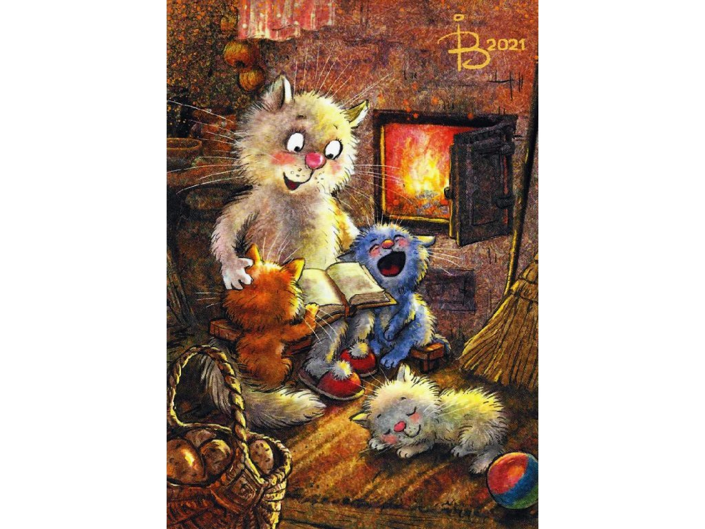 Postcard Blue Cats - Good night fairy tale