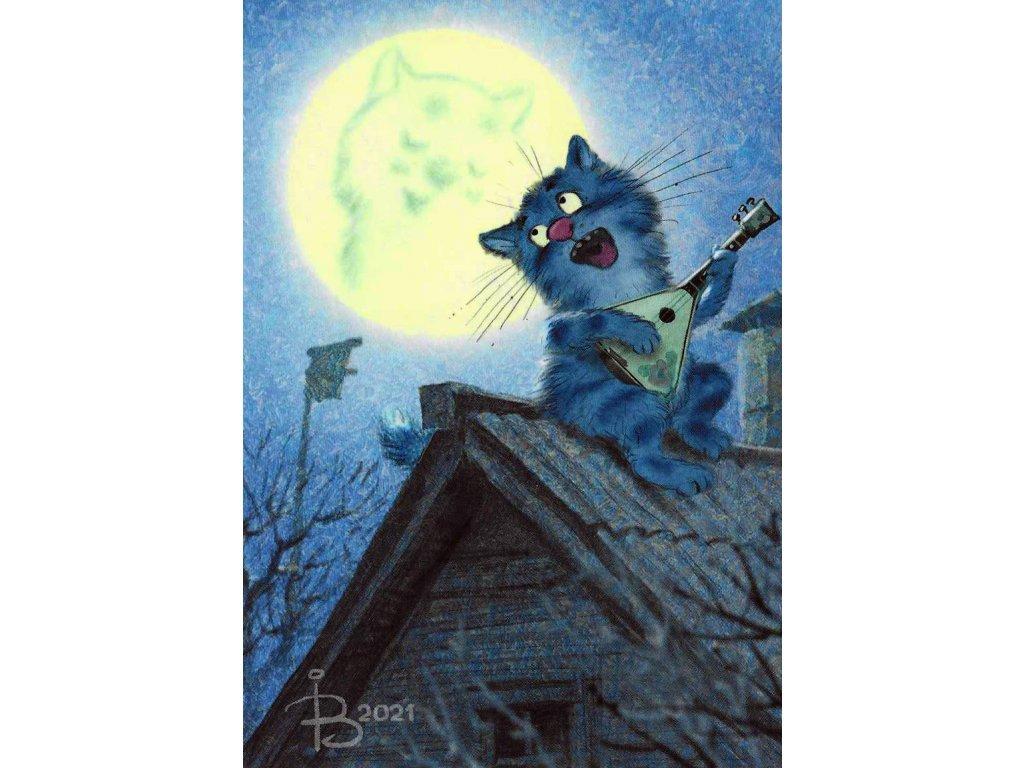 Postcard Blue Cats - No sleeping, just singing
