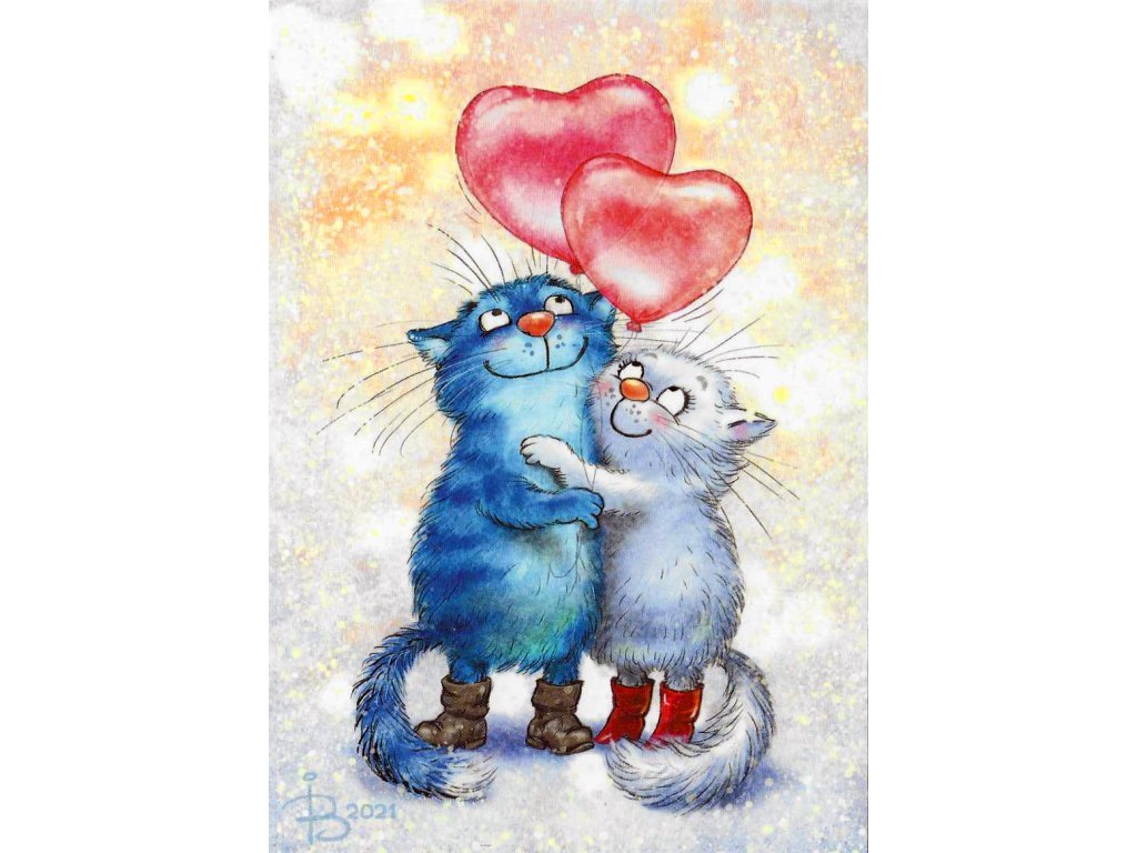 Postcard Blue Cats - Love to all