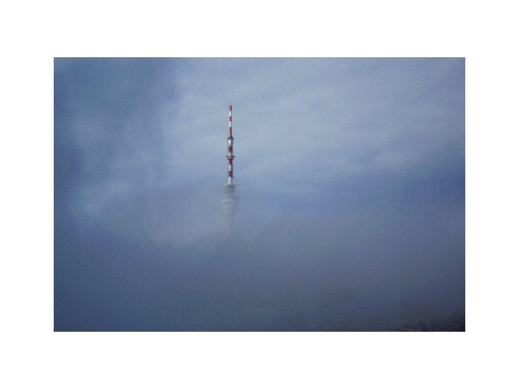 Postcard Praděd in the fog
