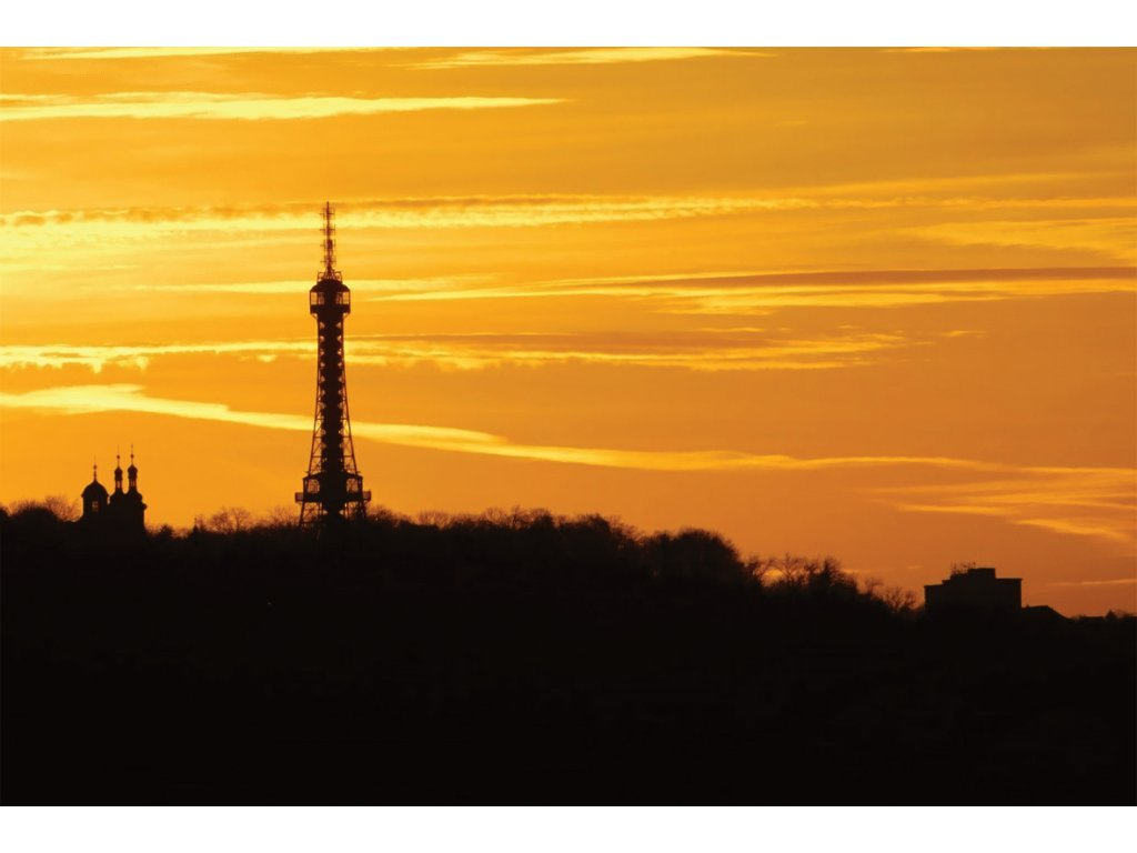 Sunset over Petřín Lookout Tower