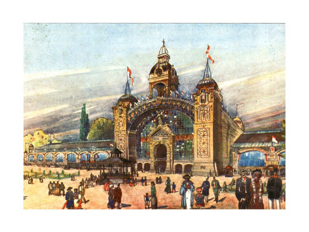 Postcard with a printed stamp Industrial Palace in Prague
