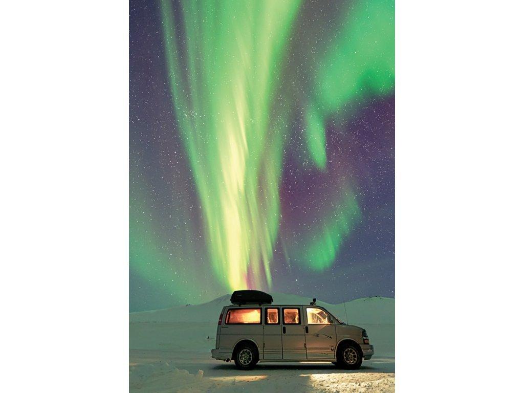 Postcard Aurora borealis and traveler