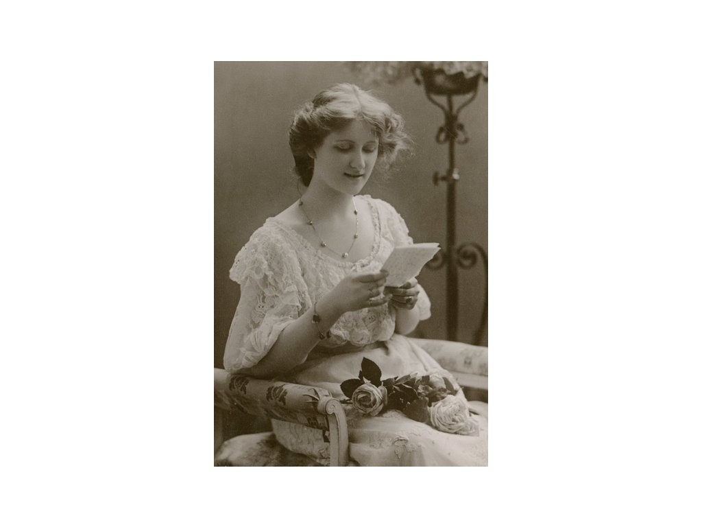 Postcard Girl with a letter