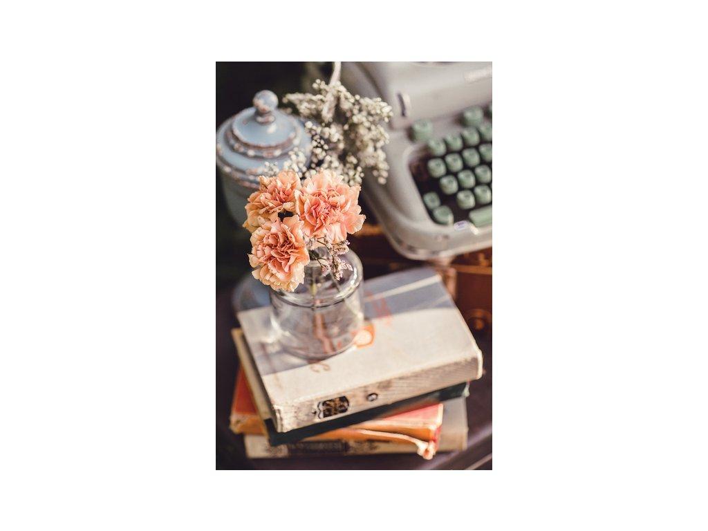 Postcard Flowers with typewriter