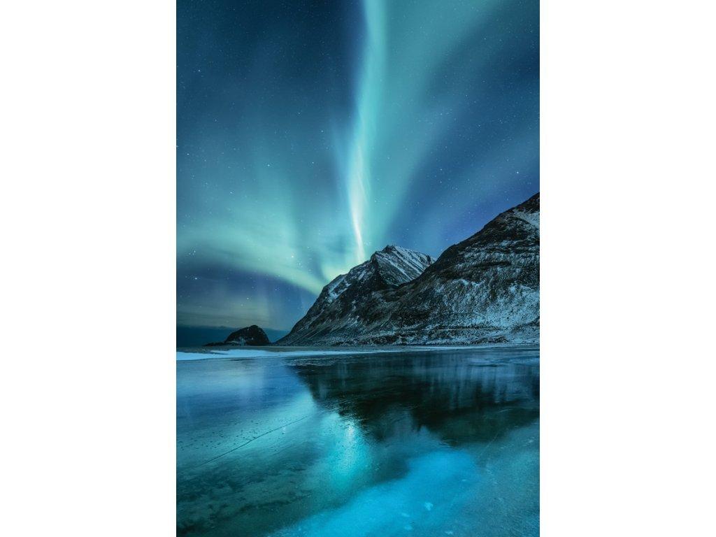 Postcard Aurora borealis over the mountains