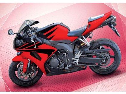 12749 3 pohlednice cervena motorka