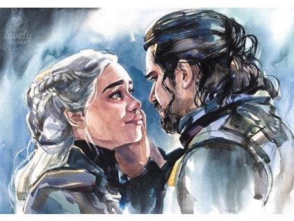 13733 2 pohlednice john snow a daenerys targaryen