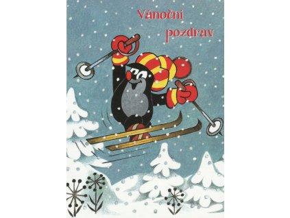 1007 pohlednice krtecek na lyzich