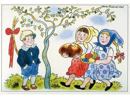 428 pohlednice velikonoce alena ladova 1960