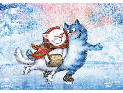 Postcard Blue cats - Figure skaters in love