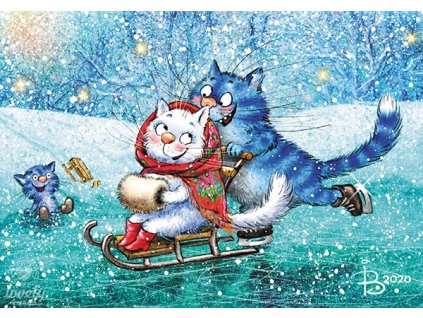 Postcard Blue cats - Sledding on ice