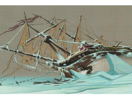 Postcard Frozen - frozen ship