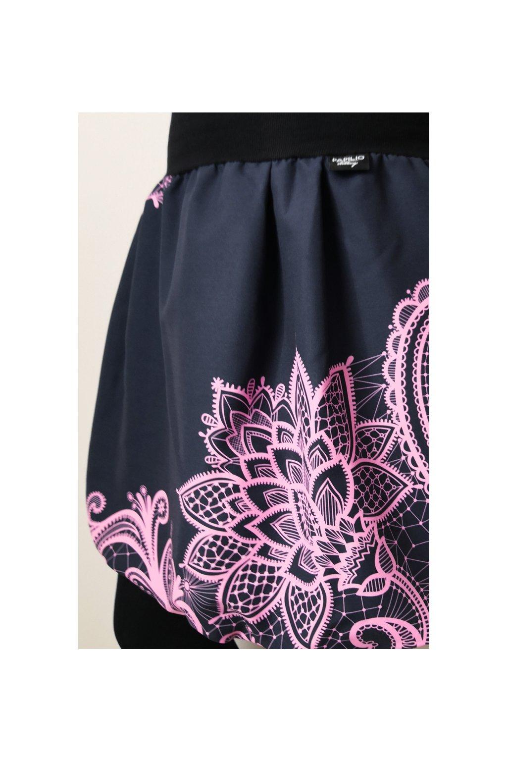 Balonová sukně Krajka růžová - antracit| micropeach