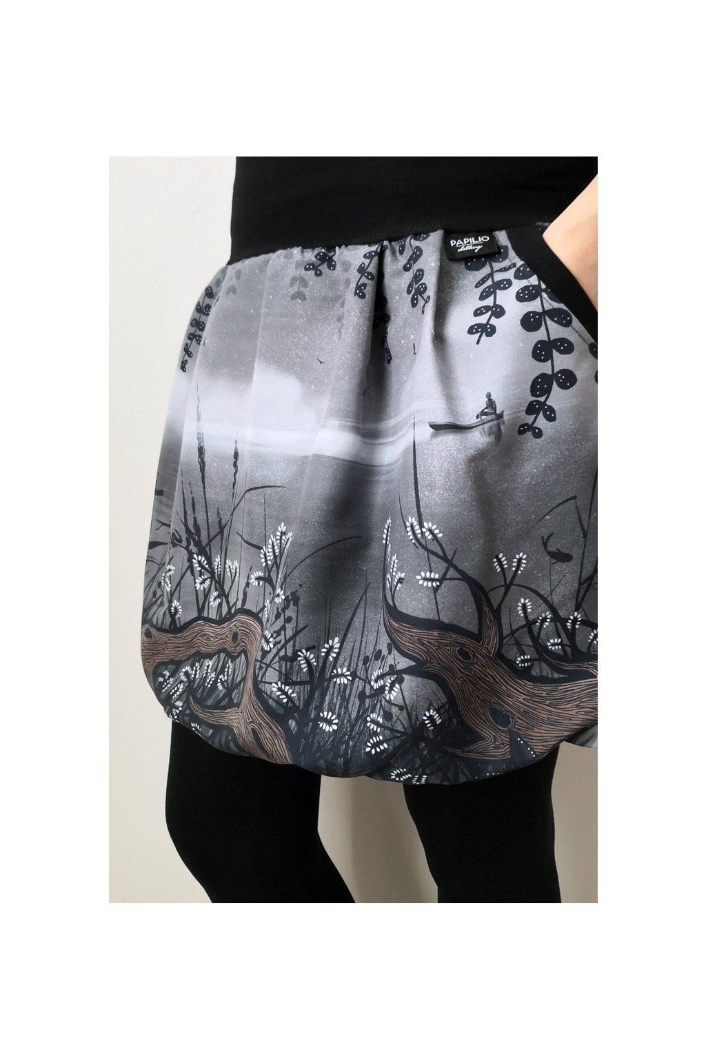 Balonová sukně Vrbičková - šedá | plátno