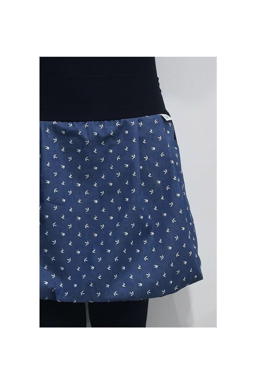 balonová sukně s vlaštovkami | denim