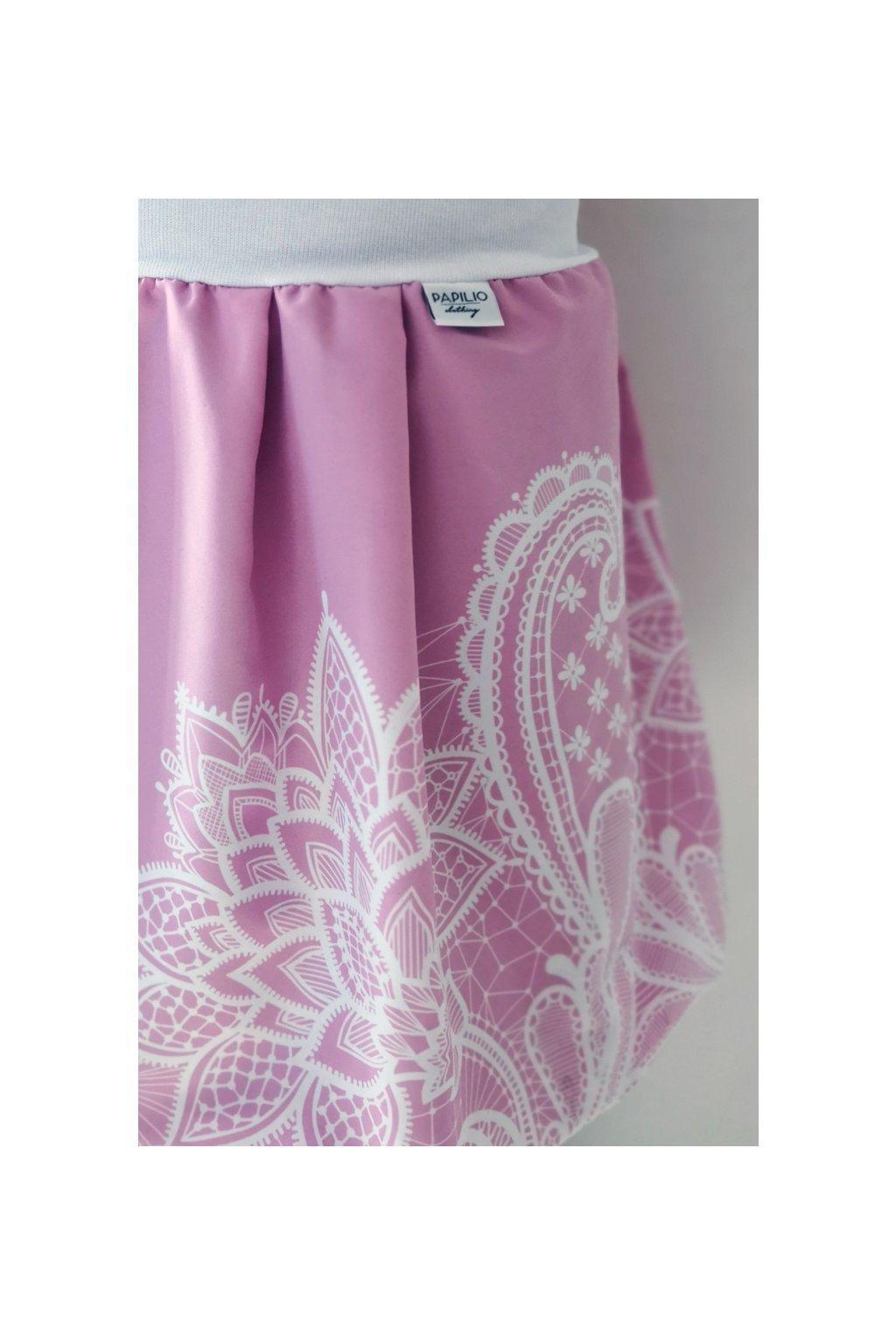 Balonová sukně Krajka smetanová - starorůžová | micropeach