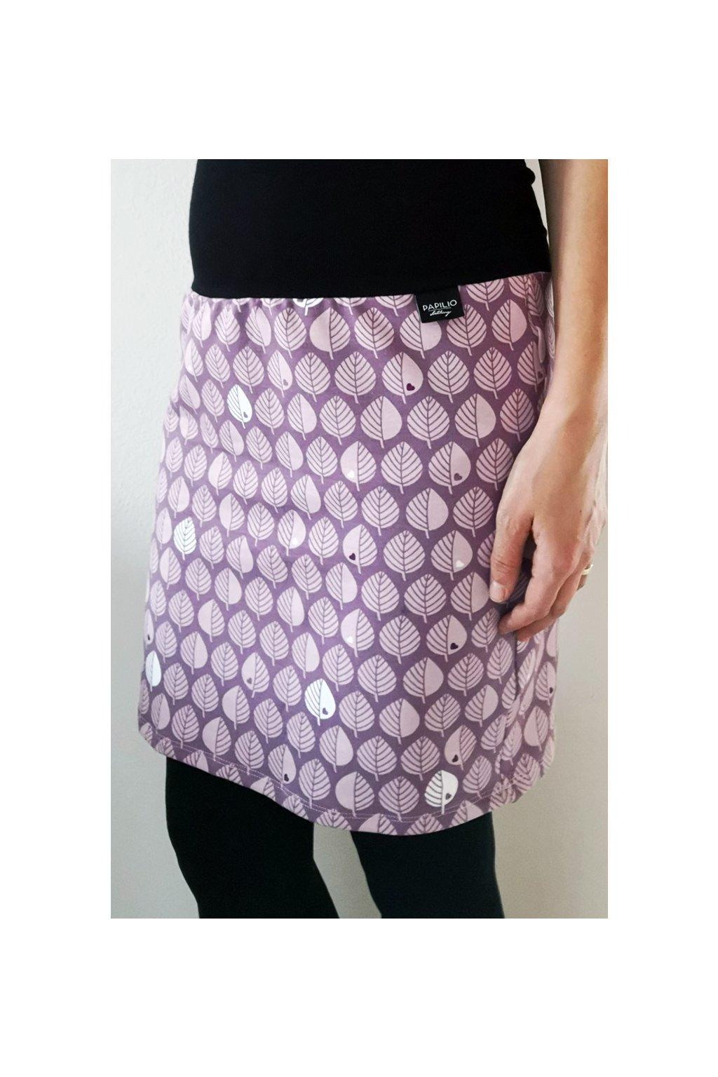 Pouzdrová sukně Lístky fialové | úplet