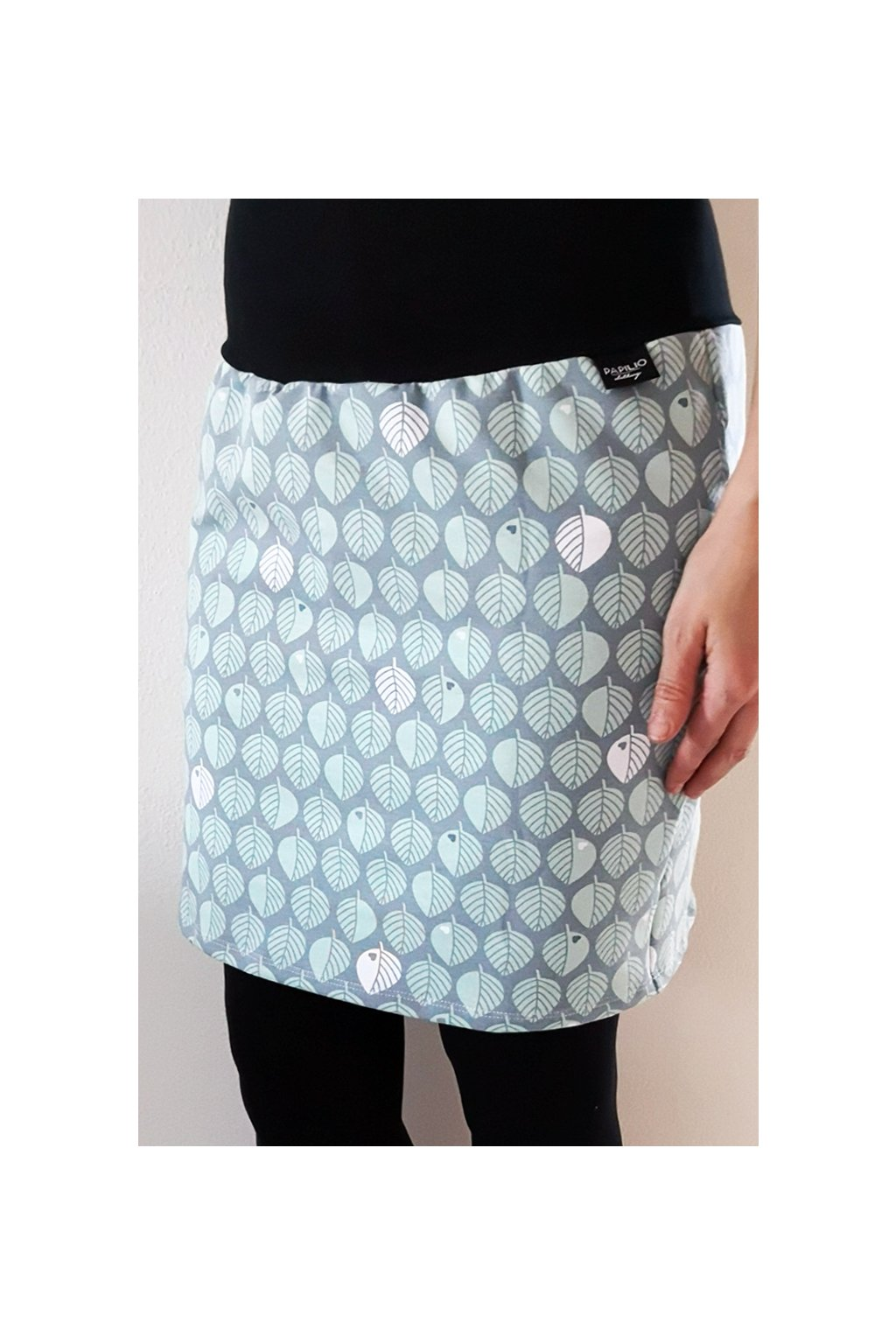 Pouzdrová sukně Lístky mint | úplet