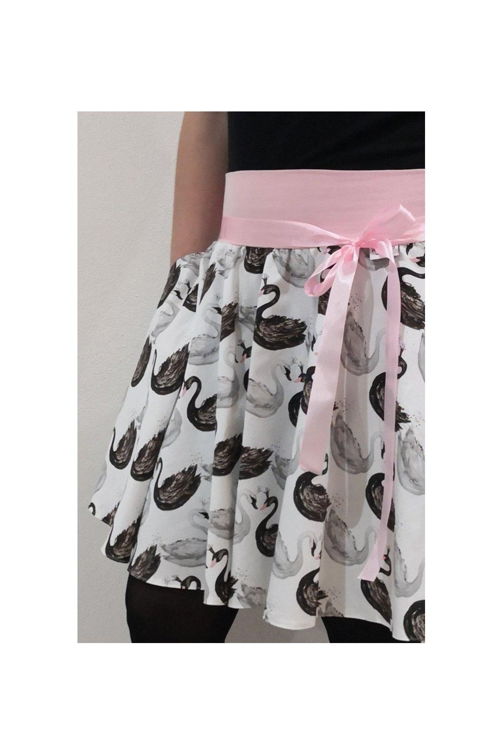 SKLADEM - Kolová sukně Labutě (velikost M, délka 48 cm)   plátno