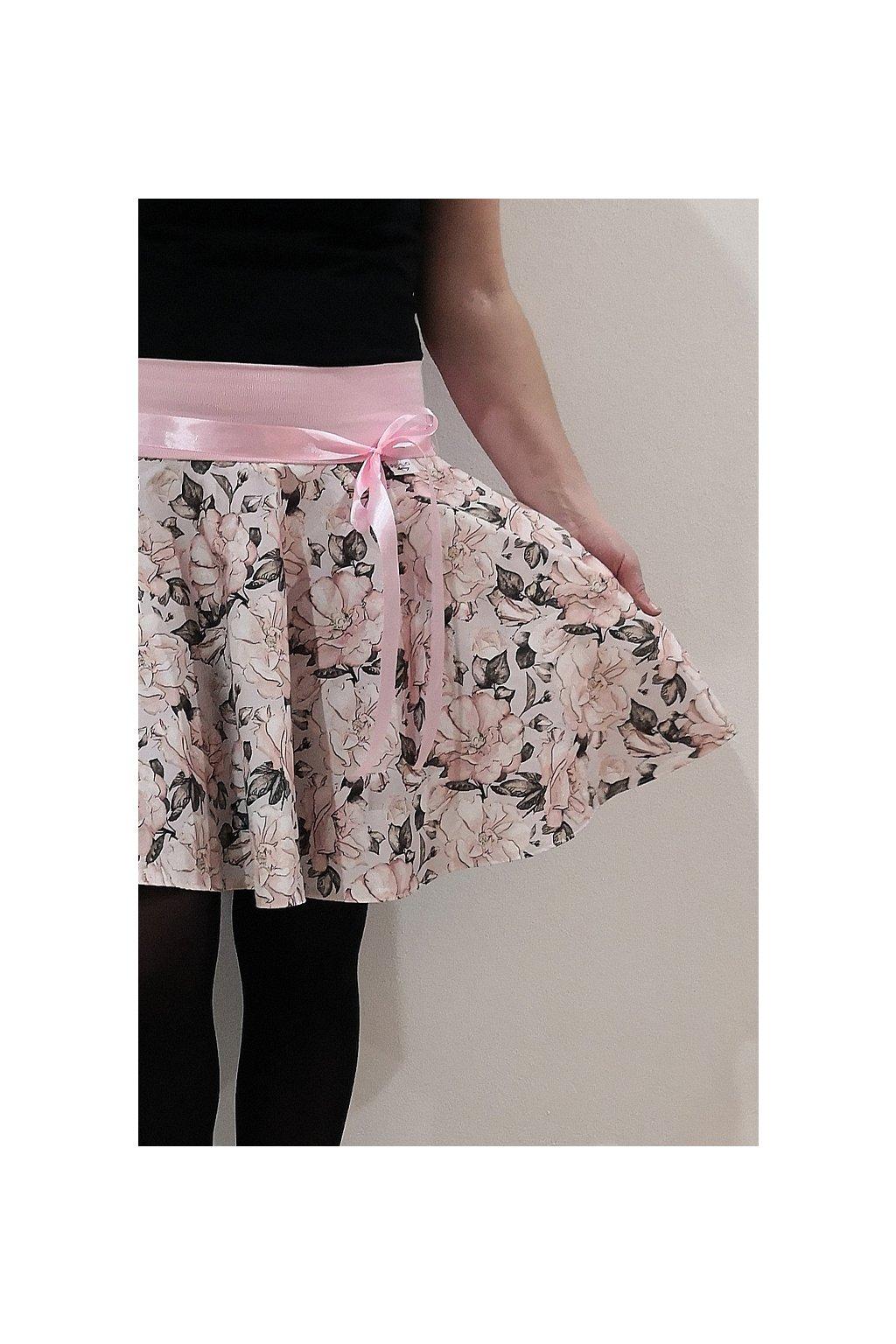 SKLADEM - Kolová sukně Růže (velikost M, délka 46 cm ) | plátno