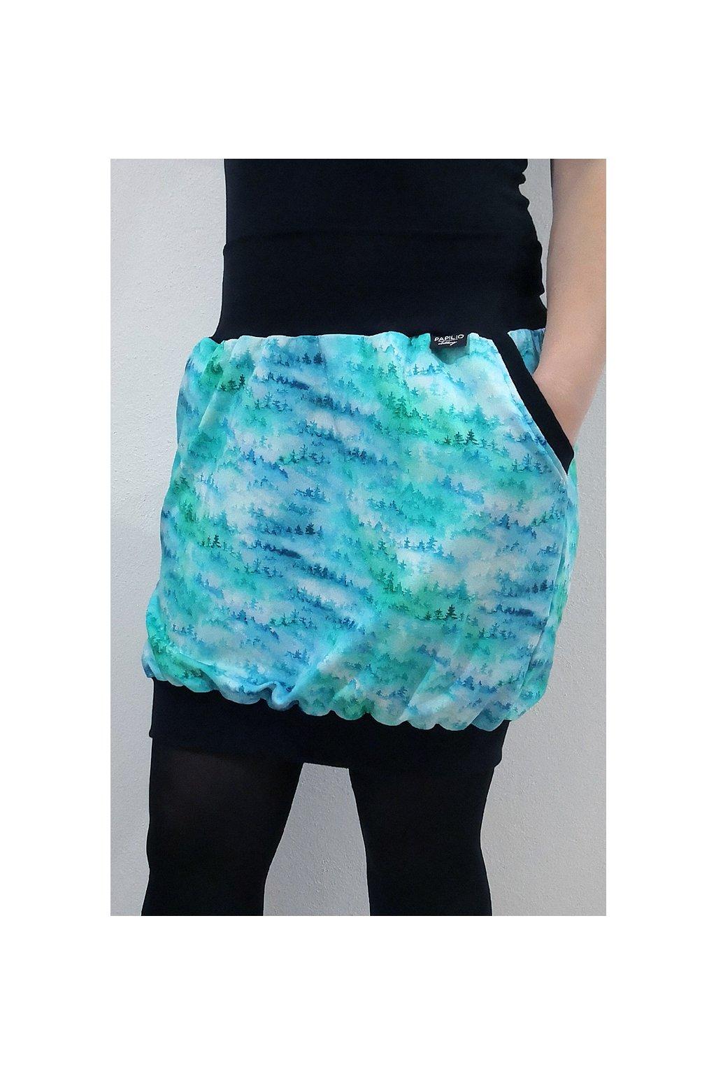 SKLADEM - Balonová sukně do nápletu LES, velikost uni, délka 56 cm   bavlněný úplet