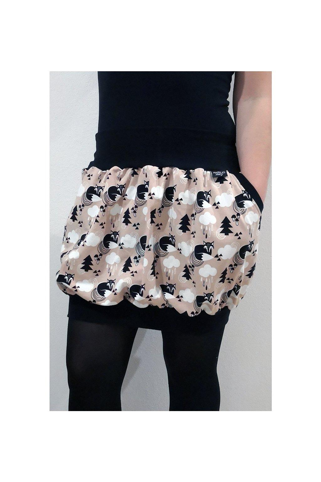 SKLADEM - Balonová sukně do nápletu LIŠKA, velikost uni, délka 44 cm | bavlněný úplet