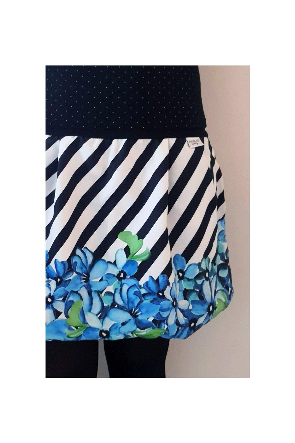 Balonová sukně Fialky na pruhu - černobílý | micropeach