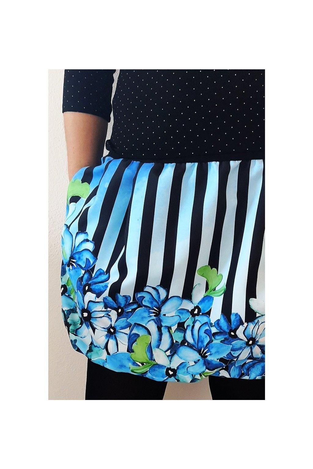 Balonová sukně Fialky na pruhu - modročerný| micropeach
