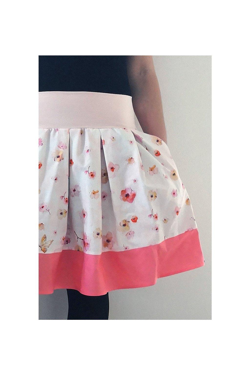 SKLADEM - Skládaná sukně Drobné květy   plátno
