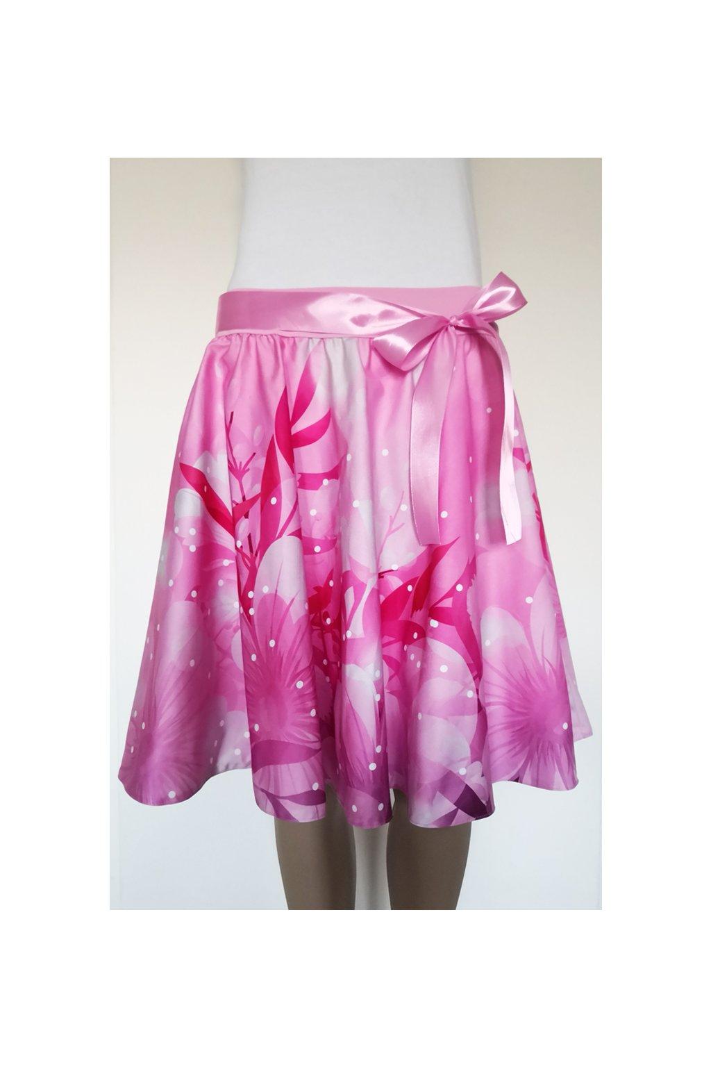 Růžové květy | kolová sukně | plátno
