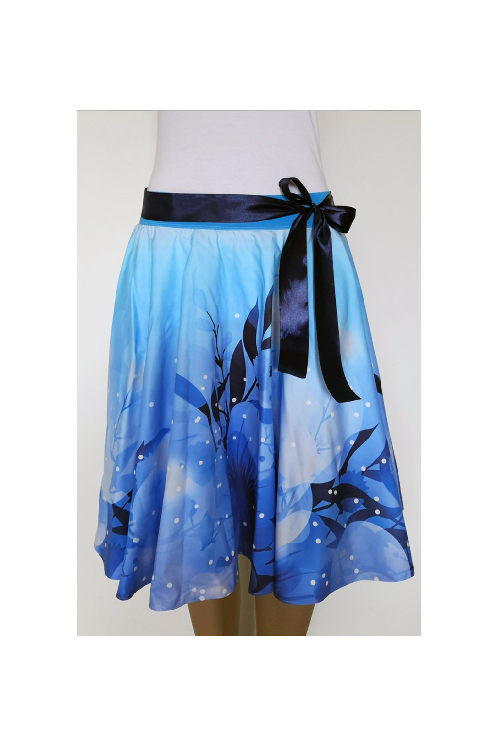 Modré květy | kolová sukně | plátno