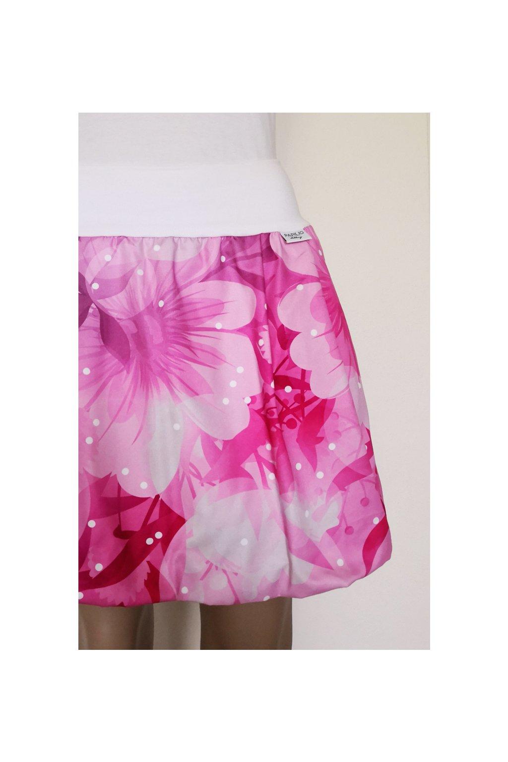 SLADEM - Balonová sukně Růžové květy, velikost S-M, délka 45 cm, kapsy ve švu   plátno