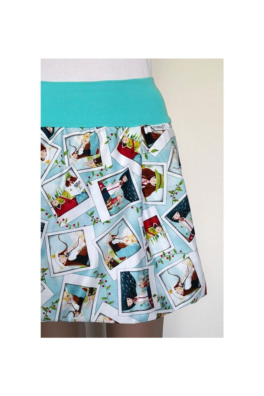 SLADEM - Balonová sukně Pohledy z cest, velikost S-M, délka 43 cm, kapsy ve švu | plátno