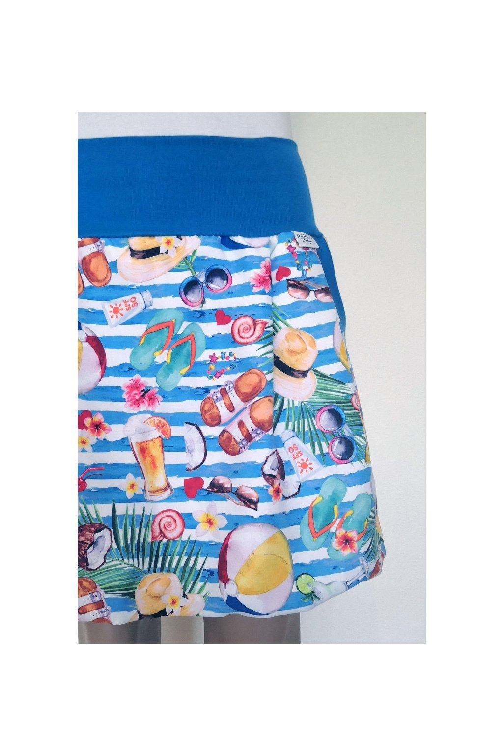 Balonová sukně Plážová (světle modré pruhy) | micropeach