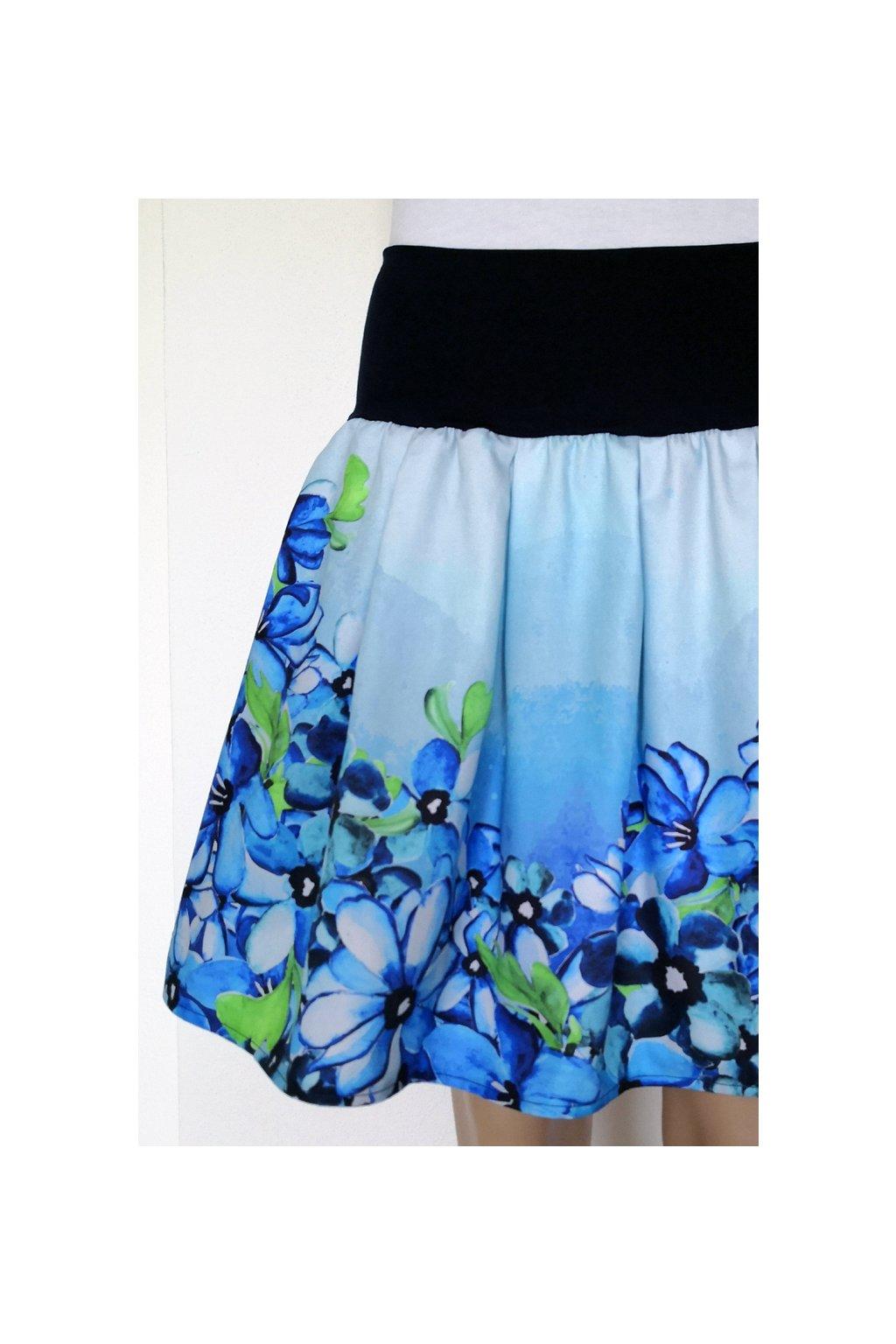 Skládaná sukně Modré květy | plátno