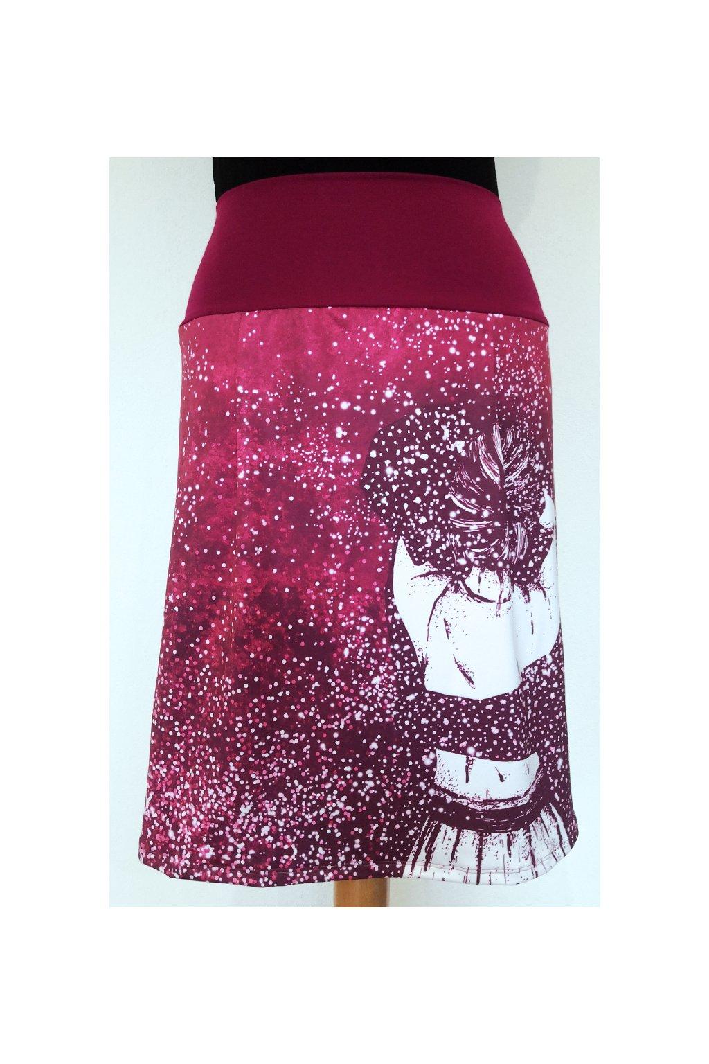 Áčková sukně Dívka | růžová | úplet