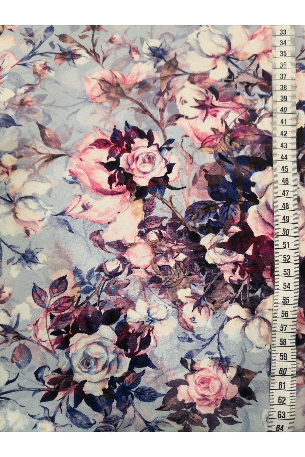 Růže na modré | úplet