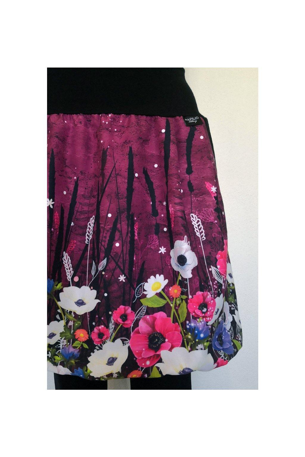 Balonová sukně Květiny na bordó | micropeach