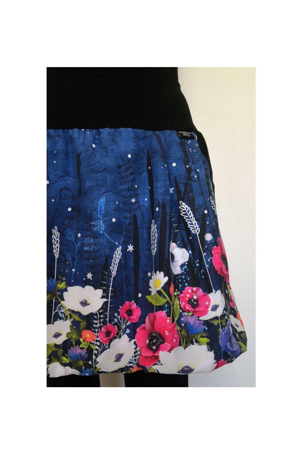 Balonová sukně Květiny na modré   micropeach